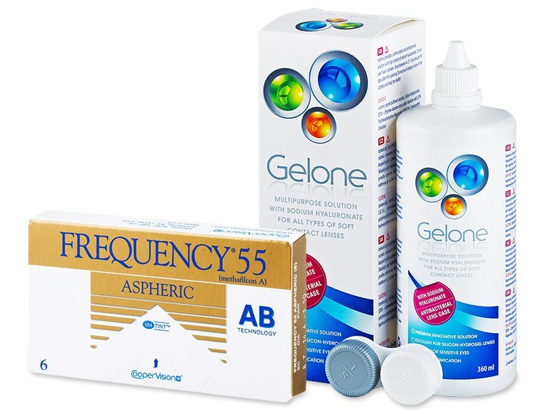 Frequency 55 Aspheric (6 läätse) + Gelone 360 ml