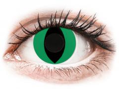 CRAZY LENS - Cat Eye Green - Ühepäevased läätsed 0-tugevusega (2 läätse)