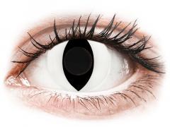 CRAZY LENS - Cat Eye White - Ühepäevased läätsed 0-tugevusega (2 läätse)